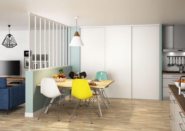 cuisine porte de placard et verrière